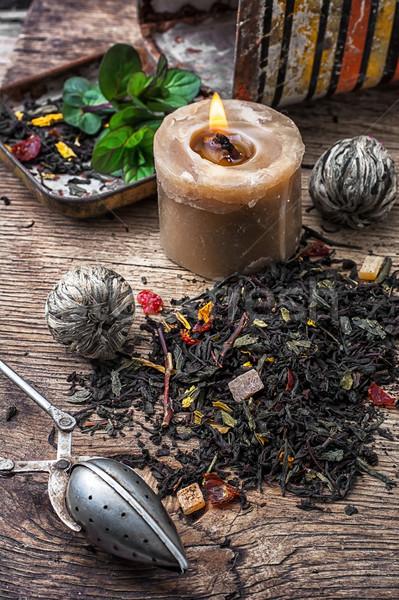 Száraz tea főzet fából készült levél gyertya Stock fotó © nikolaydonetsk