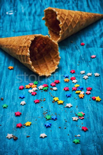 2 空っぽ ワッフル コーン アイスクリーム 木製 ストックフォト © nikolaydonetsk