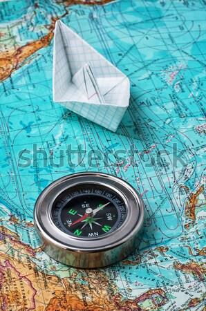 Mapa brújula edad náutico vintage papel Foto stock © nikolaydonetsk