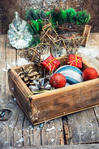 Natal decorações caixa completo brinquedos Foto stock © nikolaydonetsk