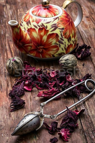 чайник элита чай изображение Vintage стиль Сток-фото © nikolaydonetsk