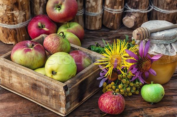 Mel caixa colheita maçãs férias Foto stock © nikolaydonetsk
