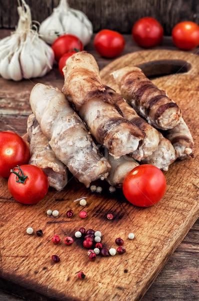 Conjunto frito carne salsichas cozinhado Foto stock © nikolaydonetsk