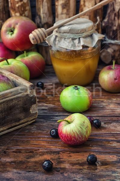Bal natürmort hasat olgun elma kilise Stok fotoğraf © nikolaydonetsk