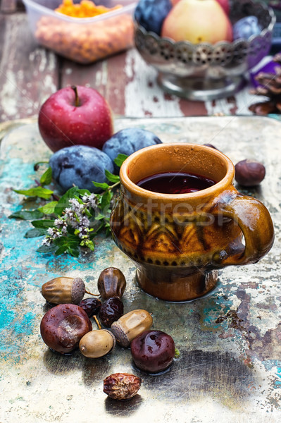 Fincan çay sonbahar stil kupa bitkisel çaylar Stok fotoğraf © nikolaydonetsk