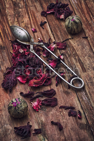 spilled tea on wooden surface Stock photo © nikolaydonetsk