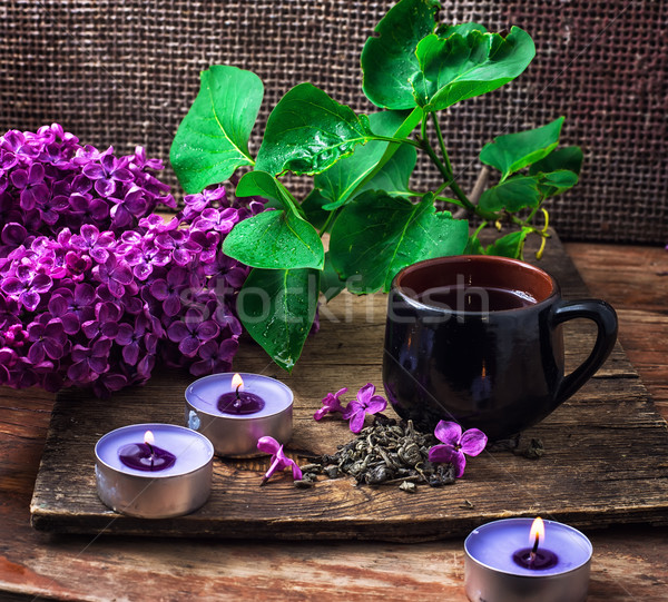 Tasse thé floraison bois surface Photo stock © nikolaydonetsk