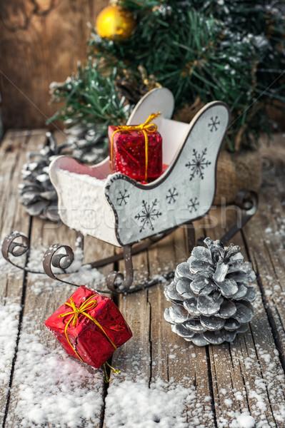 Natal decorações trenó papai noel foto Foto stock © nikolaydonetsk