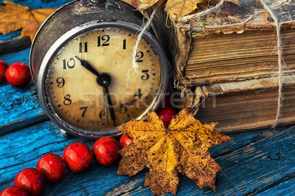 old-fashioned alarm clock and coral beads Stock photo © nikolaydonetsk