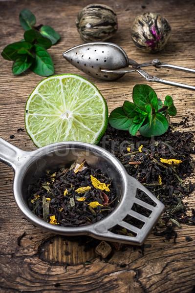 茶 葉 木製のテーブル 葉 薬 朝食 ストックフォト © nikolaydonetsk
