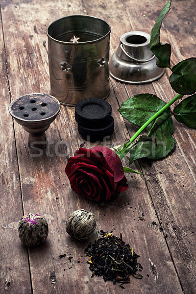Hookah drogen elite thee bladeren details Stockfoto © nikolaydonetsk