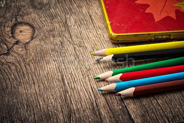 Gekleurd potloden ingesteld houten kantoor school Stockfoto © nikolaydonetsk
