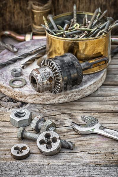 Velho instrumento conjunto ferramentas trabalhar industrial Foto stock © nikolaydonetsk