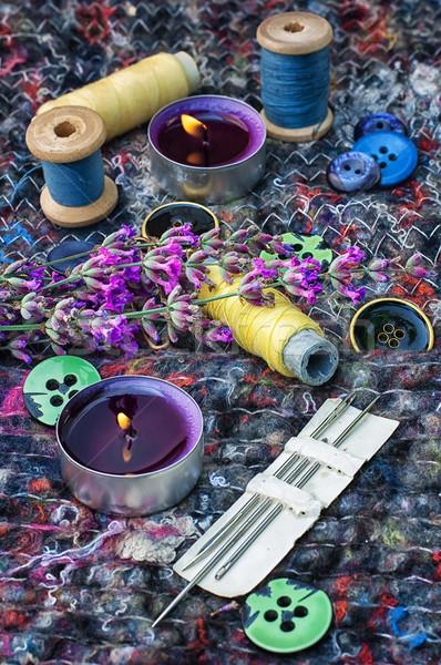 Desatualizado ferramentas alfaiate de costura fio botões Foto stock © nikolaydonetsk