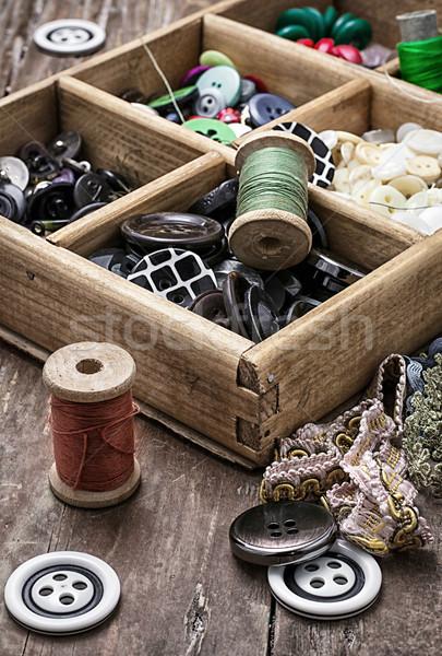 ミシン ボタン スレッド 古い 木製 ボックス ストックフォト © nikolaydonetsk