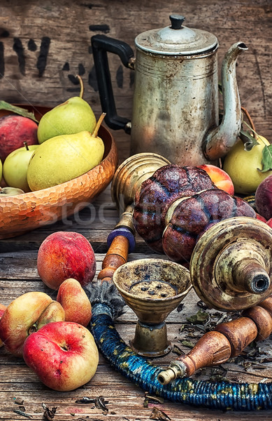 hookah and peaches Stock photo © nikolaydonetsk