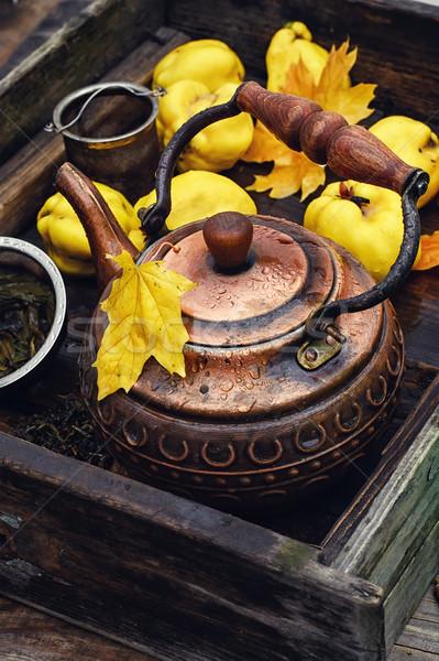 чай свежие айва устаревший окна Сток-фото © nikolaydonetsk