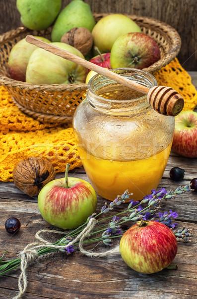 Jabłko miodu jesienią zbiorów jabłka szkła Zdjęcia stock © nikolaydonetsk
