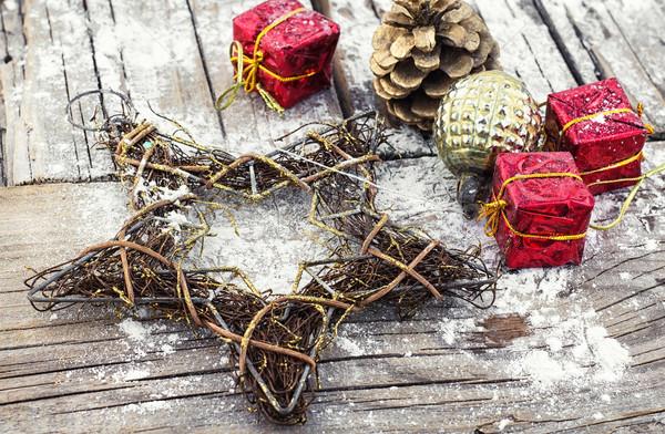 Decoratie nieuwjaar decoratief christmas star draad Stockfoto © nikolaydonetsk