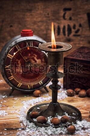 Świeca świecznik zestaw palenie christmas mosiądz Zdjęcia stock © nikolaydonetsk