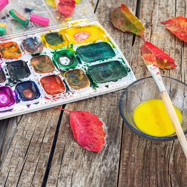 краской осень таблице набор различный цветами Сток-фото © nikolaydonetsk