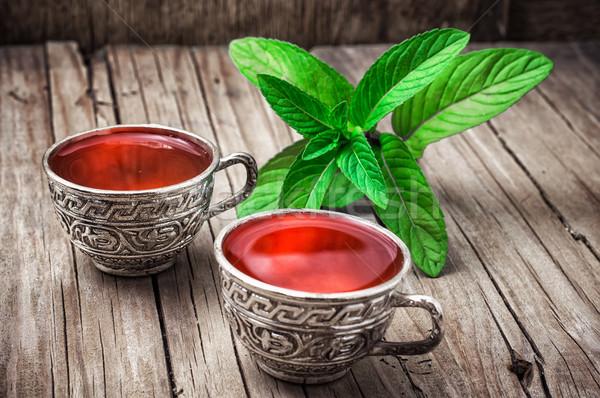 Chá medicinal dois ferro de folhas Foto stock © nikolaydonetsk