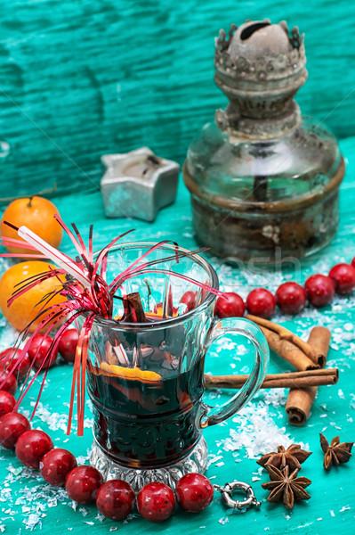 şarap Noel kokteyl Retro bağbozumu tatil Stok fotoğraf © nikolaydonetsk