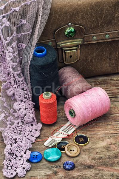Desatualizado ferramentas alfaiate fio velho vintage Foto stock © nikolaydonetsk