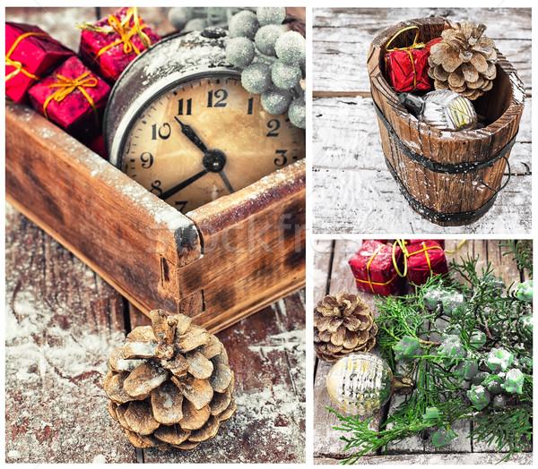 Colagem natal decorações velho despertador desatualizado Foto stock © nikolaydonetsk