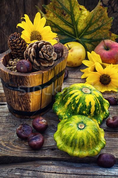 осень натюрморт сквош урожай древесины Сток-фото © nikolaydonetsk