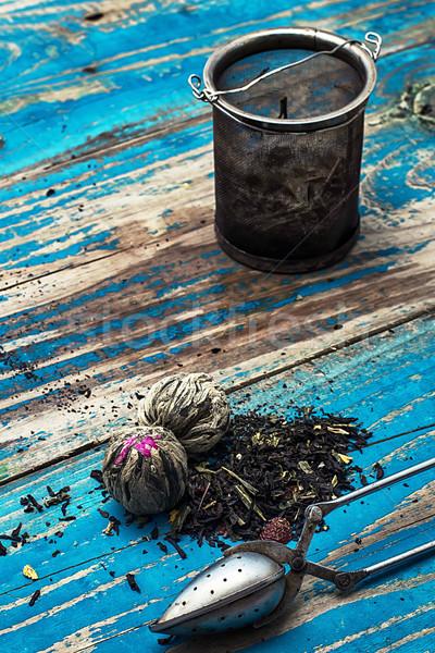 Variedade secar chá folhas creme Foto stock © nikolaydonetsk