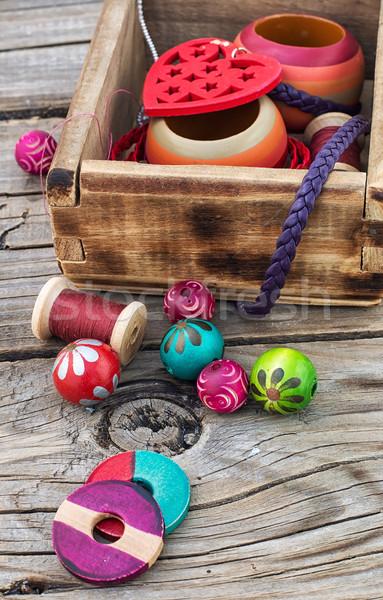 要素 ビーズ 裁縫 木製 ストックフォト © nikolaydonetsk