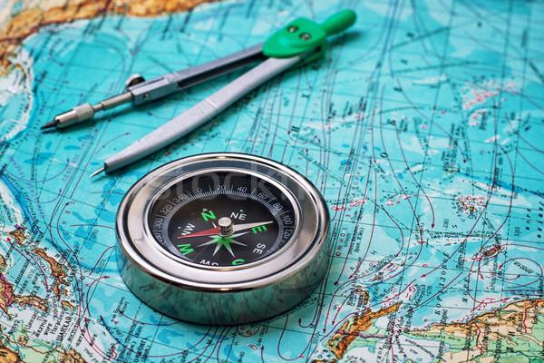 устаревший компас моряк карта текстуры морем Сток-фото © nikolaydonetsk
