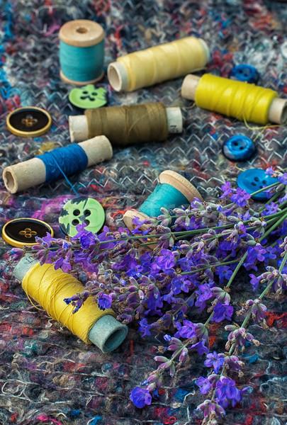 Verouderd tools kleermaker naaien draad knoppen Stockfoto © nikolaydonetsk