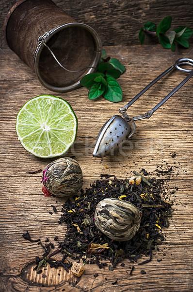 Tea főzet citrus menta fából készült vidék Stock fotó © nikolaydonetsk