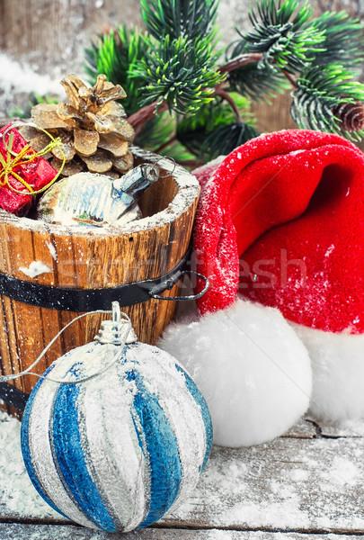 Decorações natal banheira pinho dom Foto stock © nikolaydonetsk