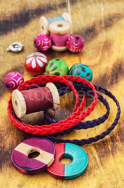 Handwerk kralen sieraden handgemaakt licht Stockfoto © nikolaydonetsk