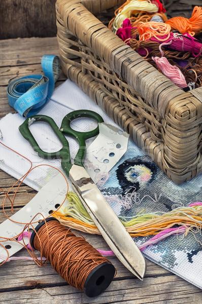 Handwerk garen draad doek hand houten Stockfoto © nikolaydonetsk