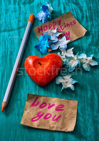 Symbolisch valentijnsdag briefkaart erkenning liefde papier Stockfoto © nikolaydonetsk