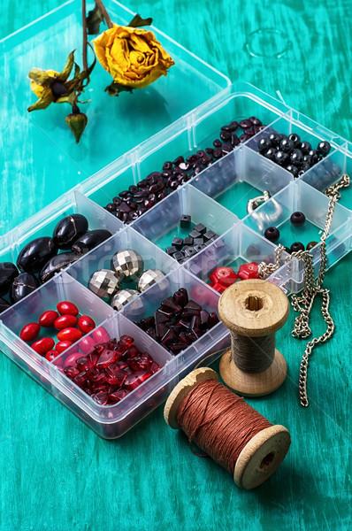 box with beads and thread  Stock photo © nikolaydonetsk