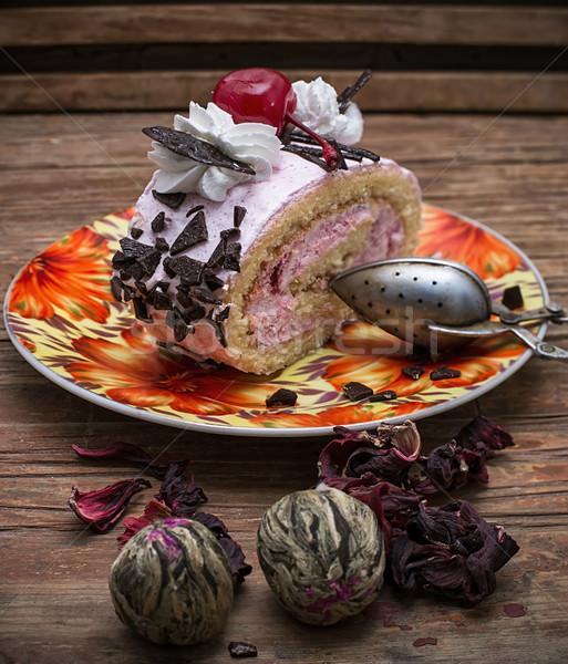 デザート 切り 茶 食品 表 ストックフォト © nikolaydonetsk