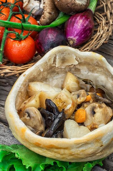 野菜 ホット プレート 調理済みの 素朴な ストックフォト © nikolaydonetsk