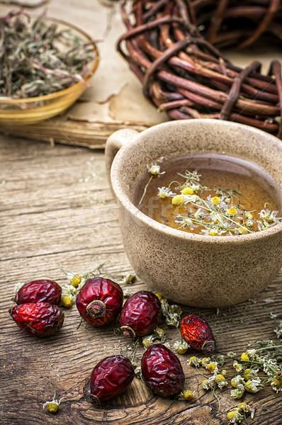 Gyógyító húsleves kerámia csésze rózsa csípők Stock fotó © nikolaydonetsk