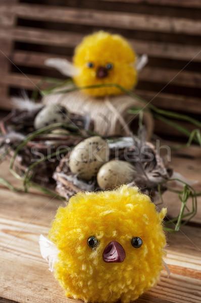 イースター 春 巣 卵 ひよこ 緑 ストックフォト © nikolaydonetsk