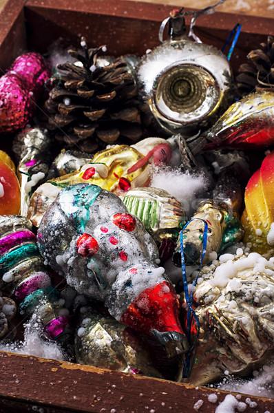 Noel eski ahşap kutu oyuncaklar süslemeleri Stok fotoğraf © nikolaydonetsk