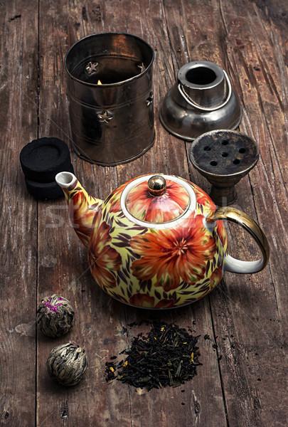 кальян высушите элита чай листьев детали Сток-фото © nikolaydonetsk