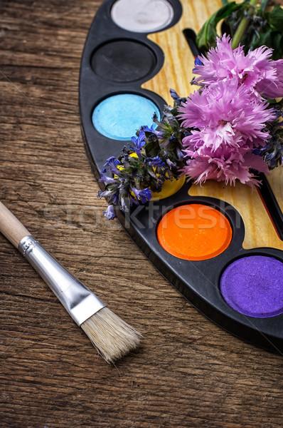 Stock fotó: Festék · rajz · paletta · színek · festmény · fából · készült