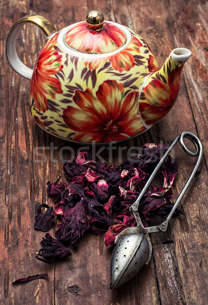 Theepot elite thee afbeelding vintage stijl Stockfoto © nikolaydonetsk