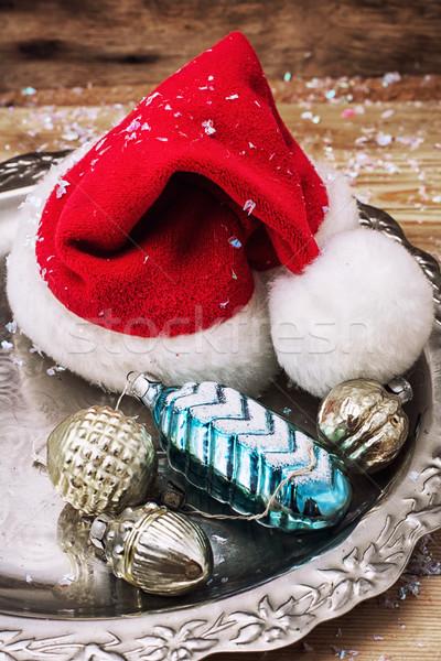 Karácsony kalap szimbólum fém tálca üveg Stock fotó © nikolaydonetsk