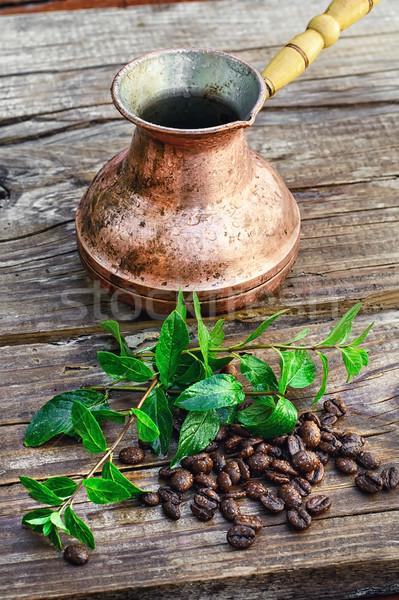 Kahve çekirdekleri boş ahşap nane gıda yaz Stok fotoğraf © nikolaydonetsk